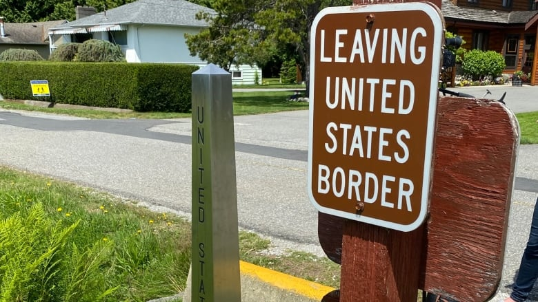 """sign says """"Leaving United States Border"""